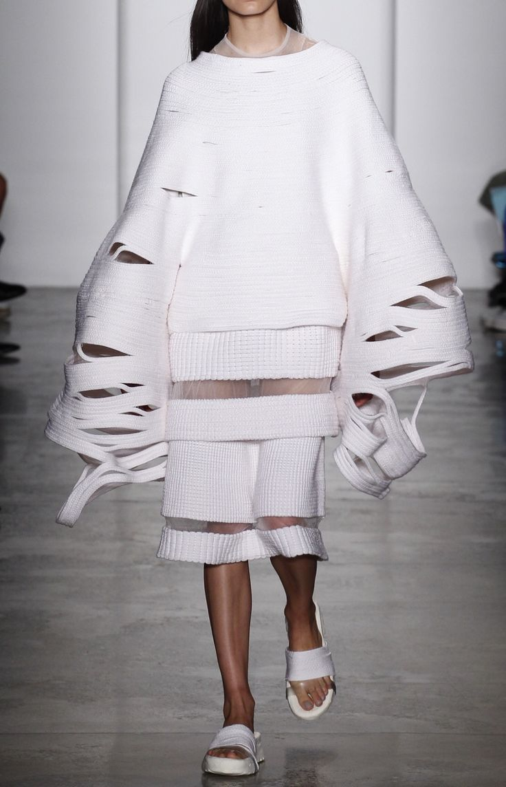 Sculptural Fashion with oversized sleeves; innovative fashion design // Parsons MFA Spring 2016