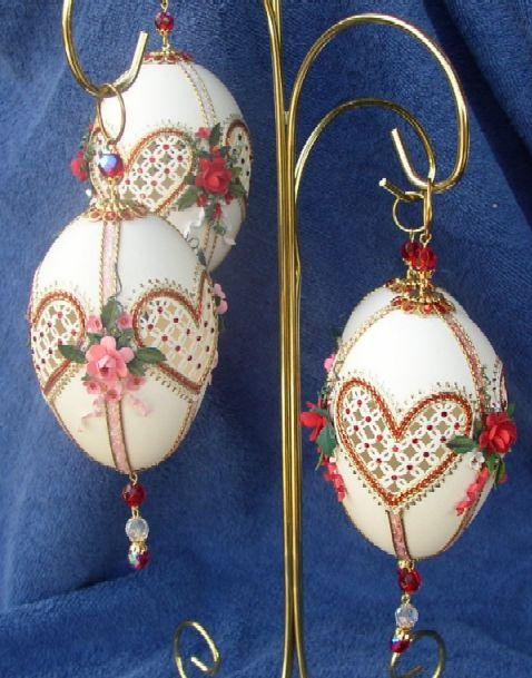 Valentine Trio, goose egg ornaments, carved egg shells, paper roses