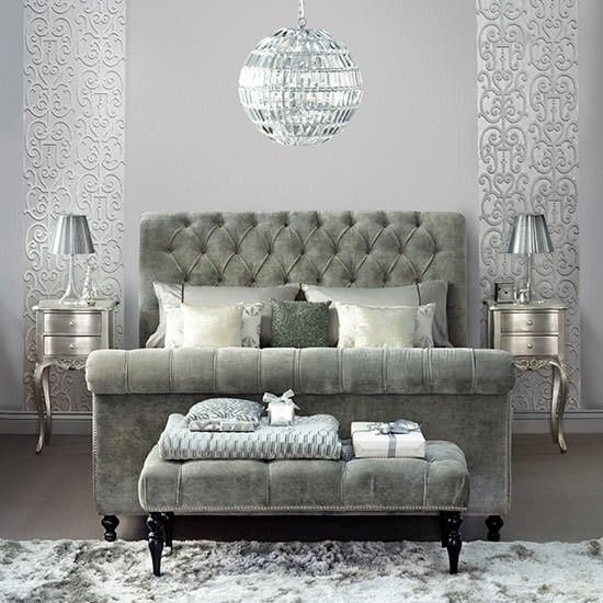 Silver bedroom with upholstered sleigh bed | Decorating with precious metals | PHOTO GALLERY | Housetohome.co.uk