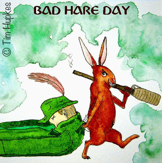 Bad Hare Day 6 x 6 giclee print by TimHupkes on Etsy, $18.99