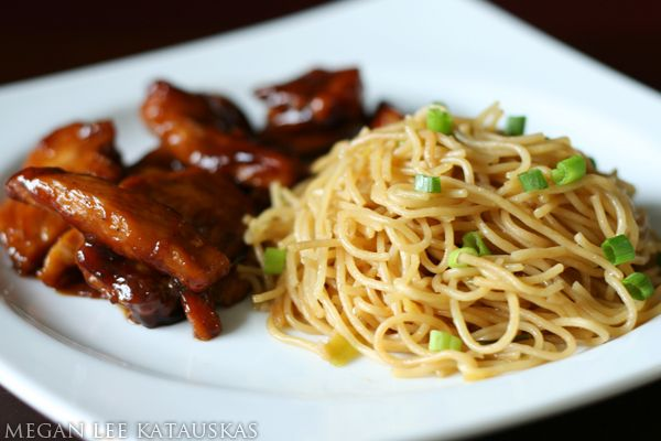 Teriyaki chicken with garlic noodles...noodles are DIVINE!  Cut down the amount of vinegar by half and it was much more delicious...but these noodles really make the meal!