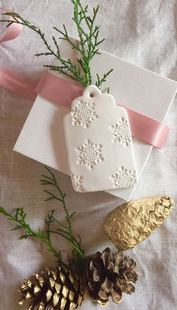 Christmas Snowflake Embossed Clay Gift Tag by LaMaisonJolie