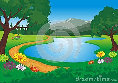 Lake with beautiful natural scenery - cartoon design,  beautiful view, pretty…