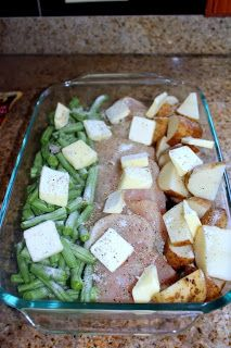 One Pan Dinner: Chicken, Potatoes & Greens (or carrots or other veggie). Top with melted butter and Italian dressing mix. Cover with foil and bake at 350 for an hour. So yummy!