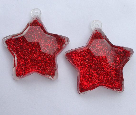 46mm Red Glitter Star Pendant Chunky Necklace by GumballCandyBeads