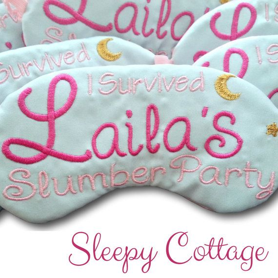 Slumber Party Favors customized just for you! These handmade sleep masks are embroidered on light blue satin with the I survived design in