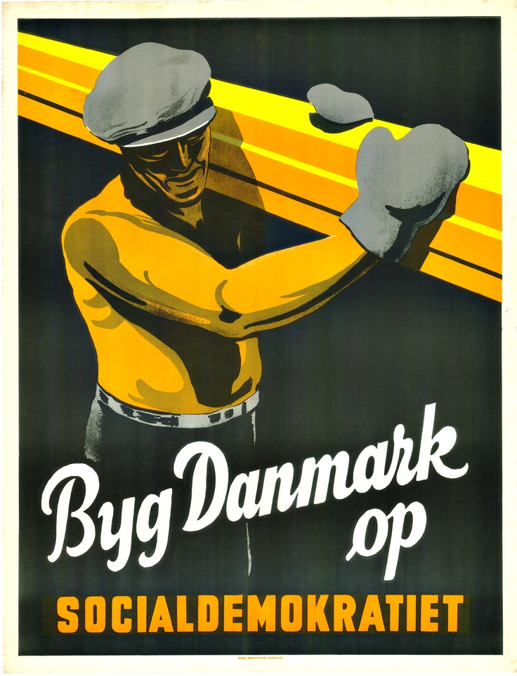 Beautiful poster from the Social Democratic Party of Denmark, 1947