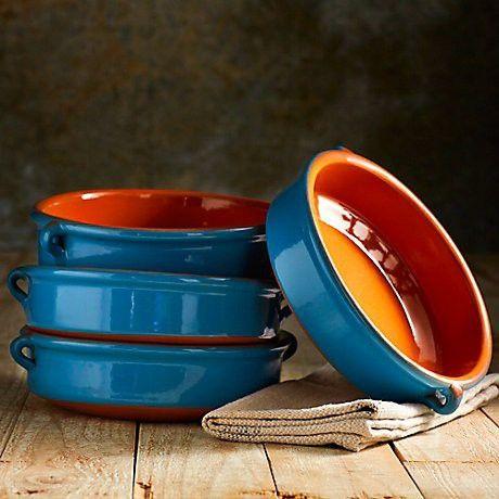 Mediterranean Blue Terra Cotta Cazuelas - 8 Inches (4 Dishes)