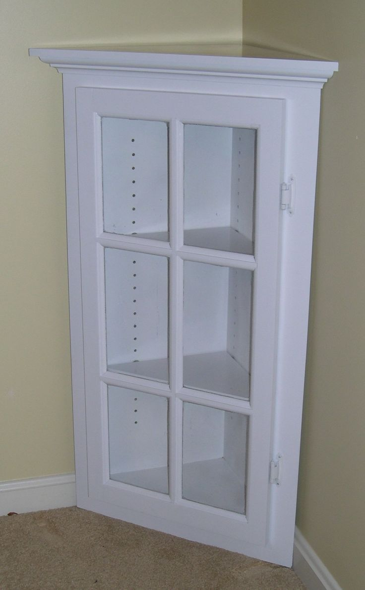 White Corner Cabinet With Glass Doors