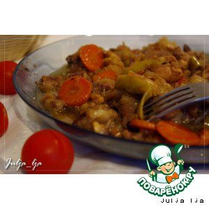 Рагу из говядины и курицы с яблоками, тимьяном и чeрносмородиновым джемом