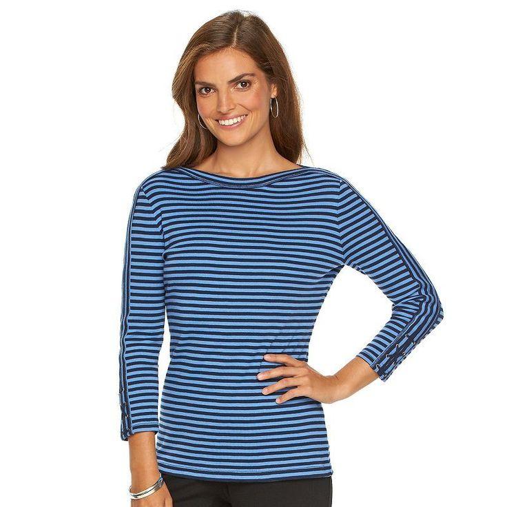 Women's Chaps Striped Boatneck Tee, Size: XL, Blue (Navy)