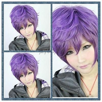 Purple Mixed Women Fashion Short Straight Hair Girl Full Wigs Cosplay Party Wig