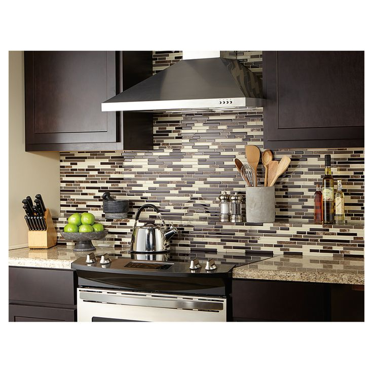 Shop American Olean Chateau Emperador Mixed Material (Stone and Glass) Mosaic Indoor/Outdoor Wall Tile (Common: 12-in x 12-in; Actual: 11.75-in x 13-in) at Lowes.com