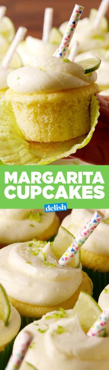 Margarita Cupcakes are boozy in the sweetest way. Get the recipe from Delish.com.