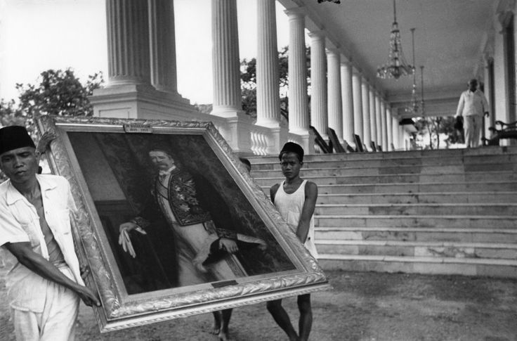 Journey Photography by Henri Cartier Bresson Date: 1949 Title: Jakarta, Indonesia Theme: After the War, End of an Era Map: Asia On the eve of Indonesian independence, three hundred Dutch portraits are removed from the governor's residence.