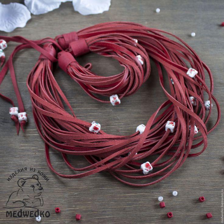 Купить Комплект украшений из кожи  Вожделение - ярко-красный, колье и браслет красные, вожделение