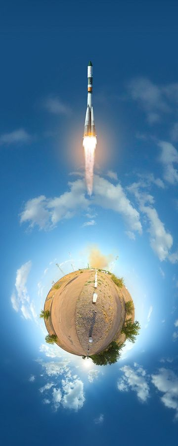 Fantastic 360-Degree Little Planet Panoramas of Rocket Launches at Baikonur Cosmodrome