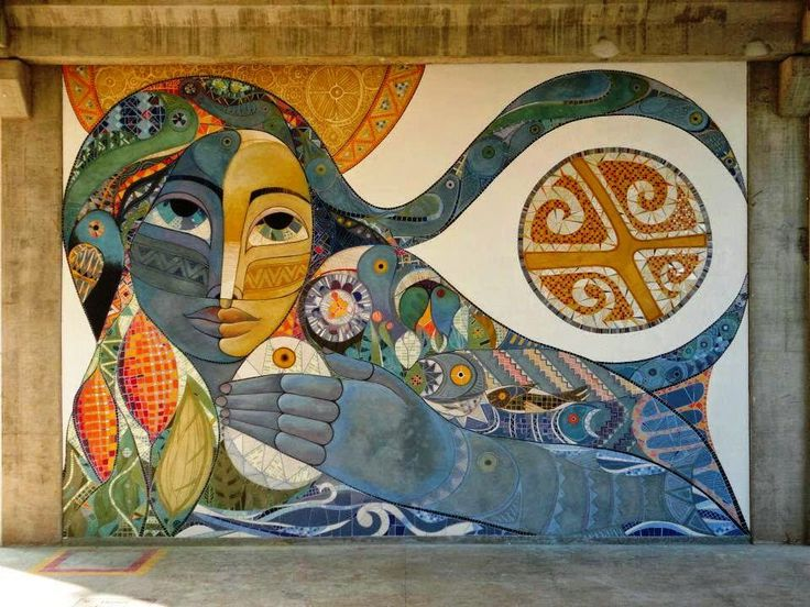 "Mural ""Ysy, Kuarahy ha Yvytu"" (La Madre Agua, el Sol y el Aire).  'Mother water, Sun and Air', by Miguel Hachen."