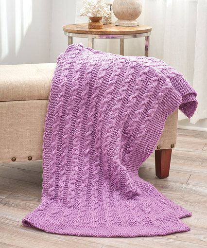 Exquisite Cabled Throw, Free Knitting Pattern from Red Heart
