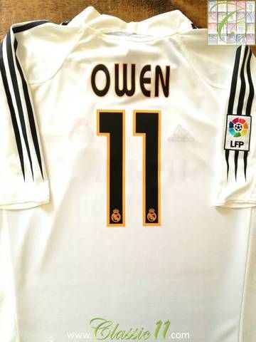 Official Adidas Real Madrid home football shirt from the 2004/05 season. Complete with Owen #11 on the back of the shirt and La Liga patch on the right sleeve.
