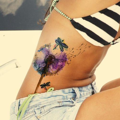 Dandelion Watercolor Tattoo on Rib Cage