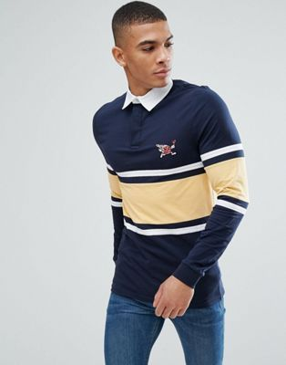 ASOS Muscle Rugby With Stripe Panel With Embroidery