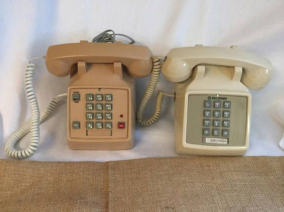 Beige Desk Telephone Tan phone push button phone Vintage