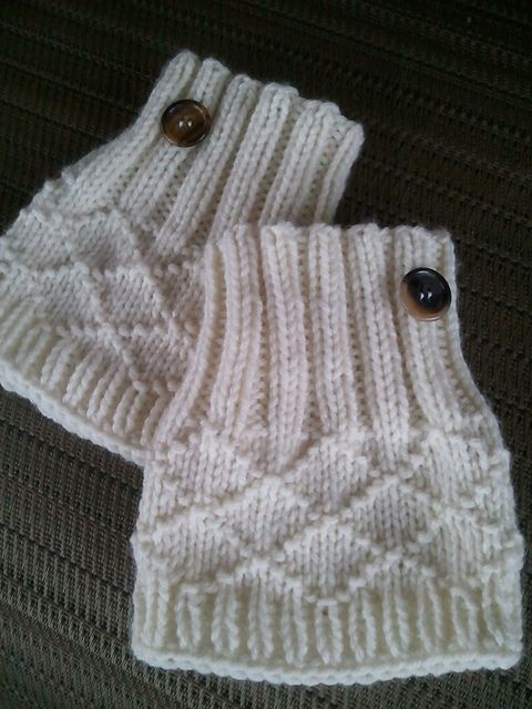 Ravelry: My White Christmas Boot Toppers pattern by Jennifer Brooks Rice, worsted wt yarn