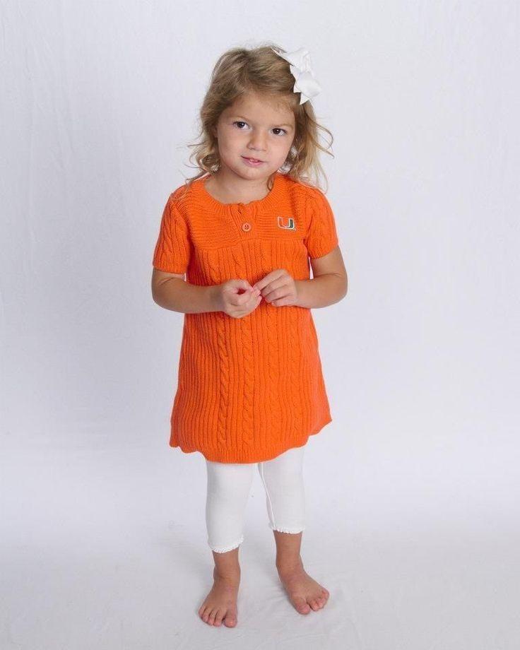 University of Miami, UM Toddler Sweater Dress, Size 12 months-4T #CreativeKnitwear