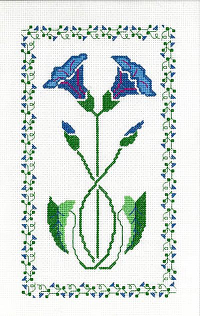 Morning Glory Art Deco Stencil Cross Stitch Kit by Barbara Thompson