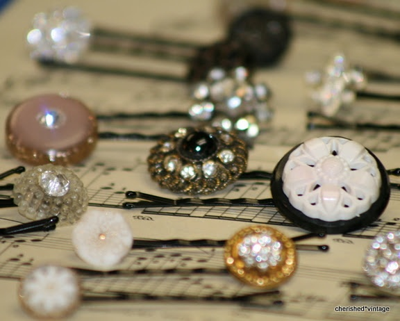 vintage button hairpins