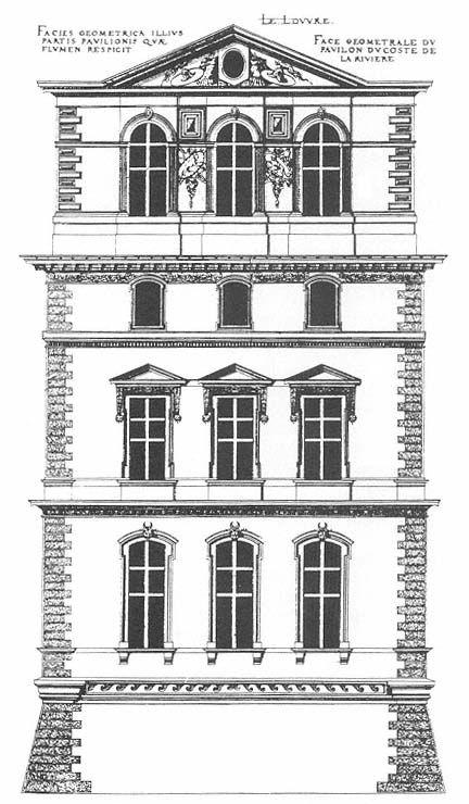Elevation D Un Plan Archi : The louvre south elevation of pavillon du roi king s