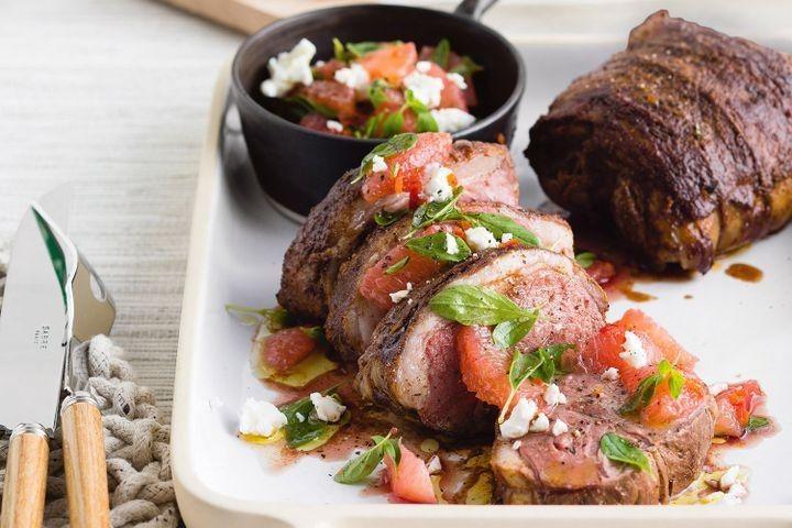 Roast lamb with oregano, pink grapefruit & chilli salsa