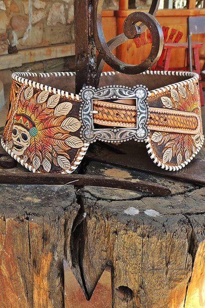 custom hand tooled leather leatherwork triesta by wild bleu tooling belt indian skull