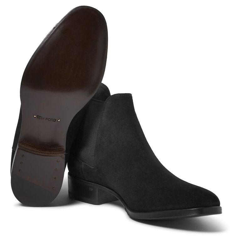 ... Ford'>TOM FORD</a>'s black suede Chelsea boots have modish appeal.  Detailed with flexible elasticated inserts and pull tabs, they're easy to slip  on and ...