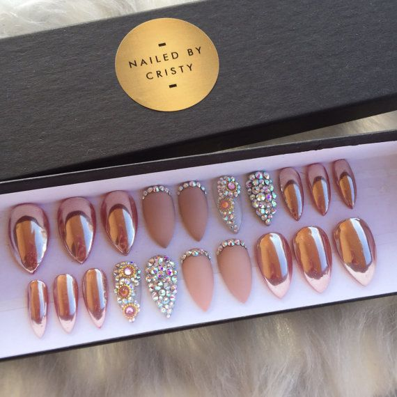 Rose Gold Chrome Press On Nails | Matte & Swarovski Crystal Accent Nails | Any Shape and Size | Fake False Glue On Nails