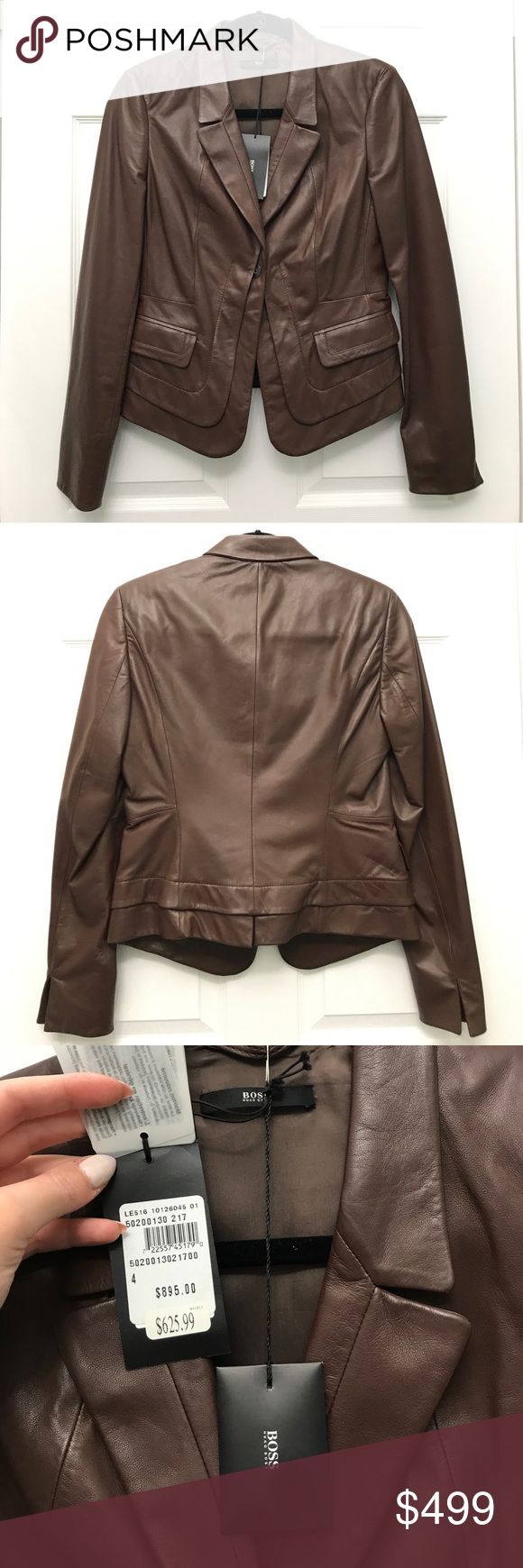 Boss Hugo Boss Brown Lambskin Leather Jacket Gorgeous, impossibly soft brown lambskin leather jacket by Boss Hugo Boss. Brand new with tags, never worn. Fully lined. This is a lightweight Spring/Summer leather piece. Hugo Boss Jackets & Coats