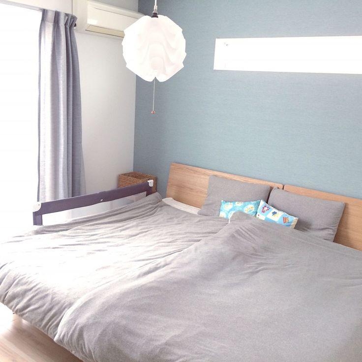 IKEA/ベッドサイドテーブル/シンコールカーテン/ベッドガード/ニトリ照明…などのインテリア実例 - 2016-09-21 12:12:17 | RoomClip(ルームクリップ)