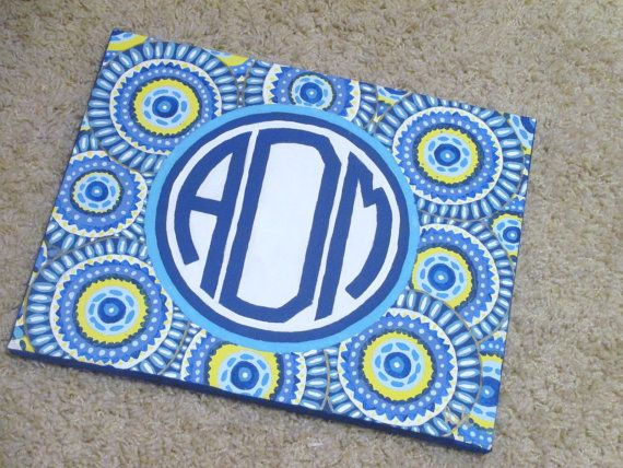 Monogrammed Canvas Painting by LiLiDi on Etsy, $15.00