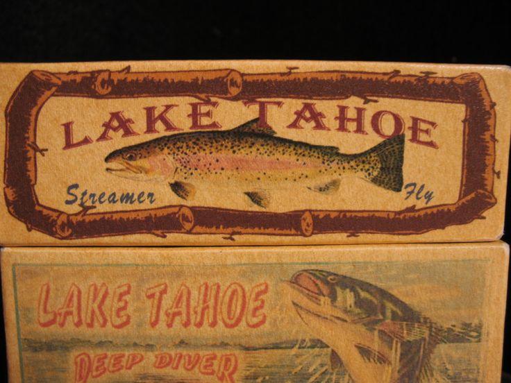 Lake Tahoe cabin decor fishing lure boxes