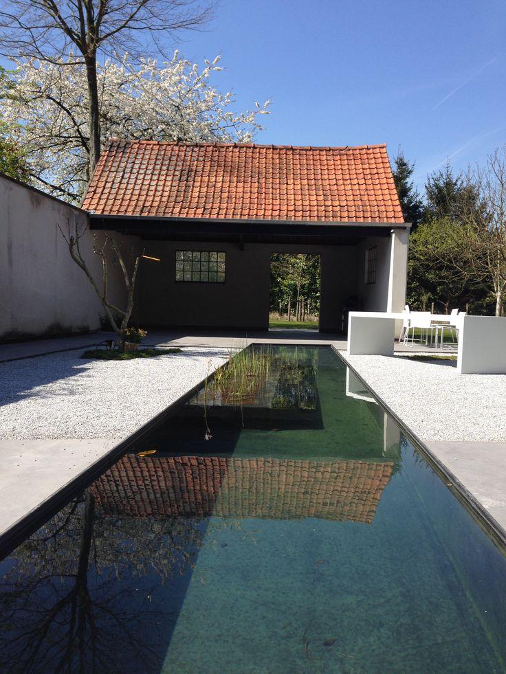 strakke waterpartij bij minimalistische tuin