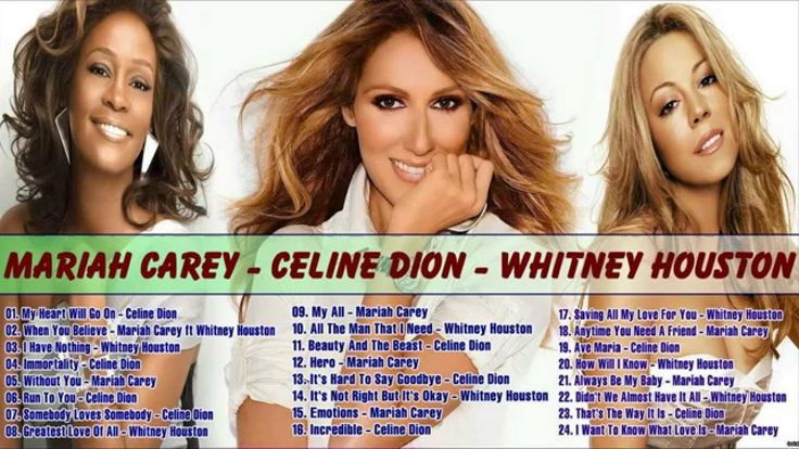 Greatest Hits Of Divas : Mariah Carey, Whitney Houston, Celine Dion - \/Full Album
