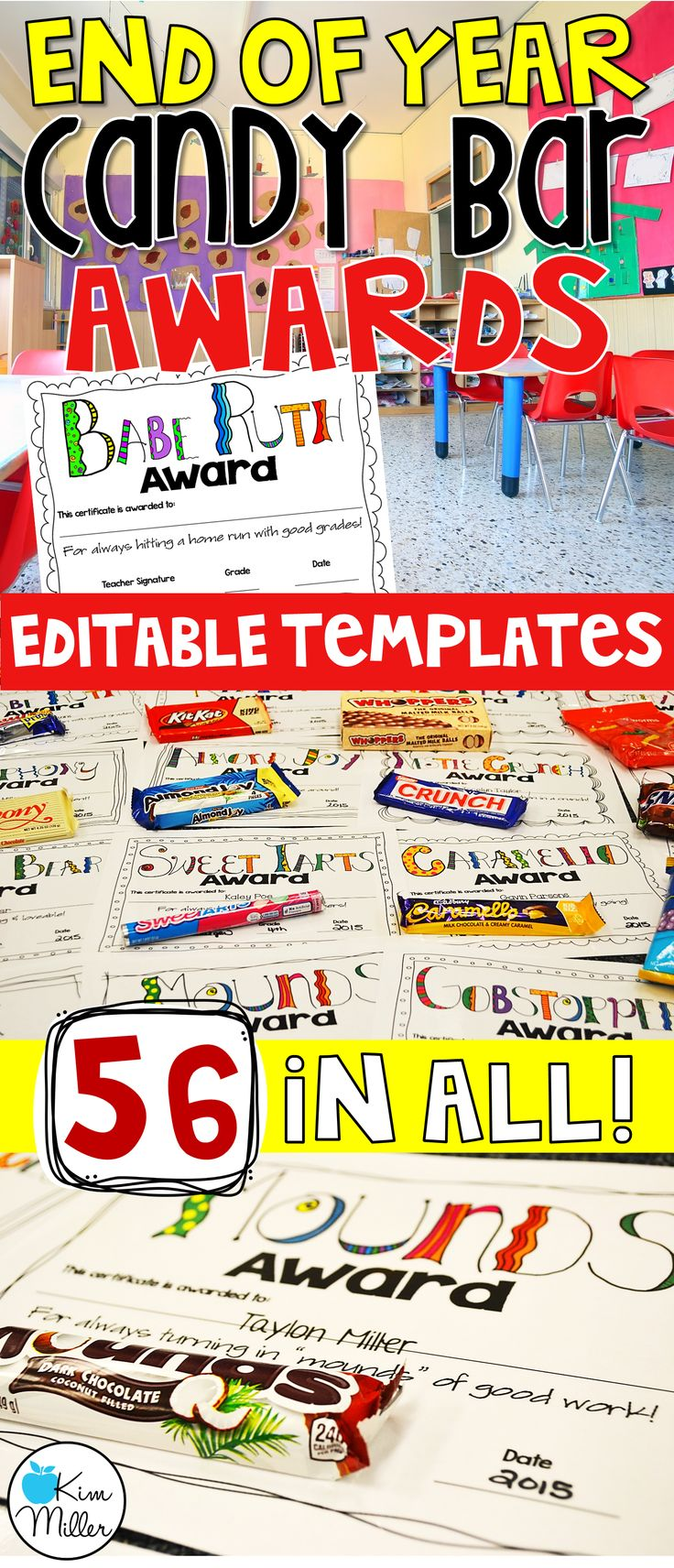 End of Year Candy Bar Awards for Students - editable templates - 56 in all