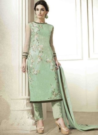 Pista Green Embroidery Work Net Santoon Pakistani Suit http://www.angelnx.com/Salwar-Kameez/Pakistani-Suits