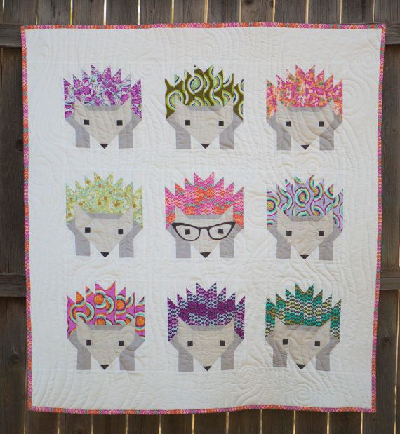 Hazel Hedgehog, Modern baby quilt, Baby Quilt, Baby Blanket, Modern Baby Blanket, Girl Quilt, Tula Pink, Ready To Ship More