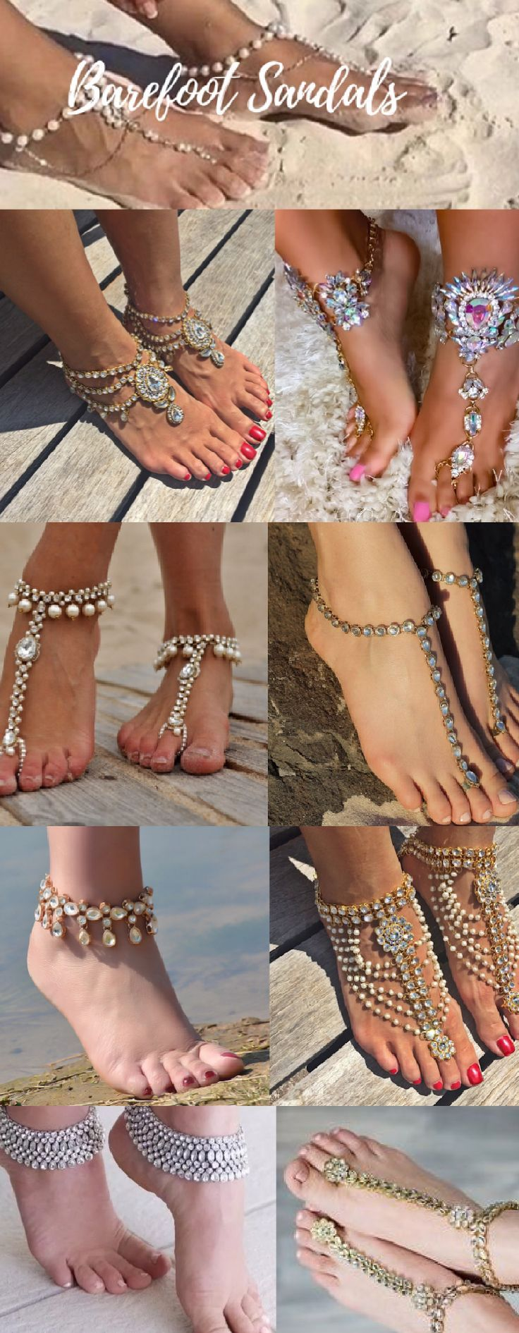 Beach Wedding gold foot jewelry. Beaded Barefoot Sandals for the bride, parties, and Bridesmaids. Indian wedding Kundan Payal Anklet Designs. Shop Body Kandy Couture's Beach Wedding Jewelry and Accessories for your Wedding And get inspired by our BareFoot Wedding Sandals to complete your look and add some bling to your bare Feet.