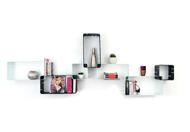 Gruppo di 7 mensole design nere e bianche modulari KLIK XL - Zoom