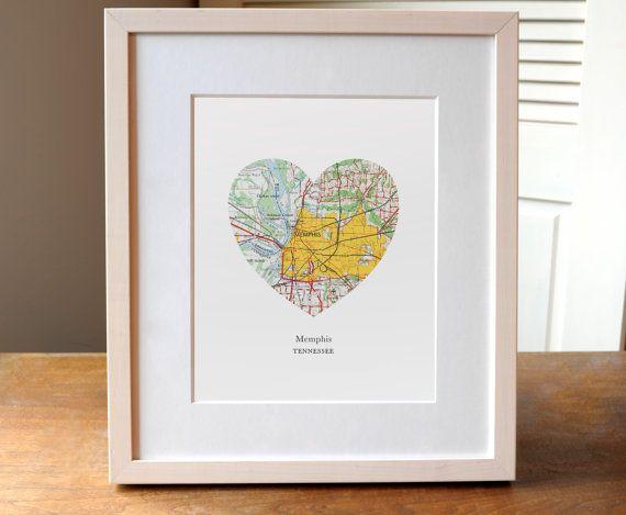 Memphis City Heart Print Tennessee Art Print by AGierDesign