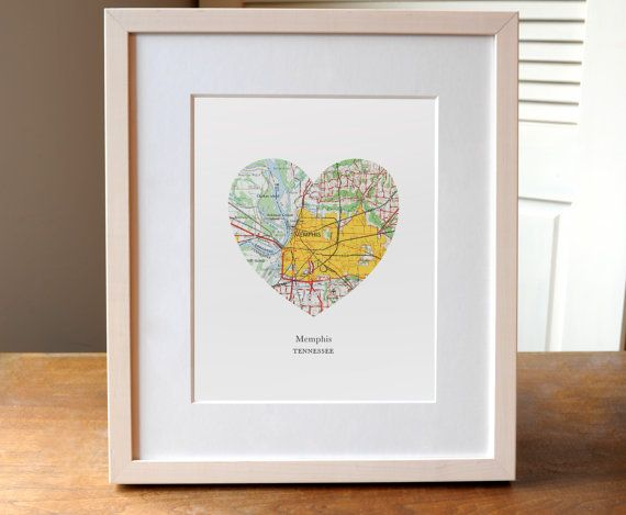 Memphis City Heart Print Tennessee Art Print by AGierDesign
