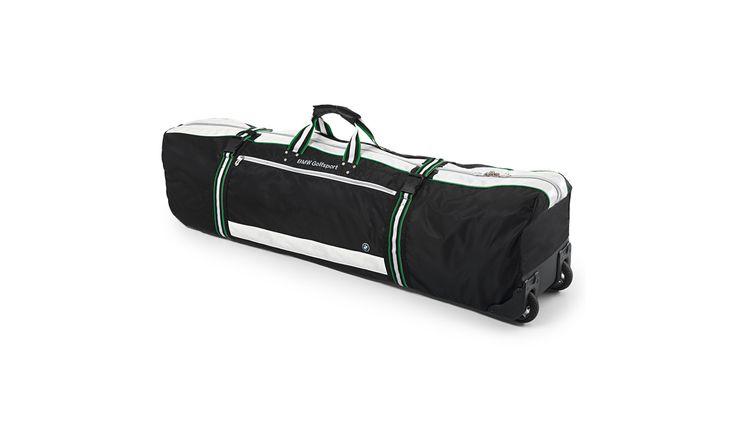 Golf Reisehülle: Für zwei Tragebags oder eine Standbag. Sicherer und komfortabler Transport dank PVC-Boden, Innengurt zur Fixierung, Accessoiretaschen und Inliner-Rollen. BMW Golfsport Design in Kooperation mit OGIO.